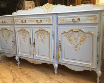 Just Sold --Fabulous Carved Antique French Oak TV unit Sideboard storage Annie Sloan Chalk Paint Louie Blue