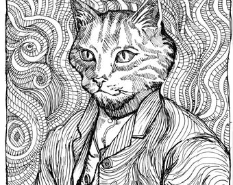 ORGANIC BABY CLOTHING - Vincent van Gogh as a Cat in this Self-Portrait revision!