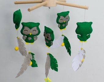 SALE! Baby mobile, Nursery mobile, Green owls mobile, Nursery decor, Felt mobile, Hanging mobile, Nursery mobile, Baby crib toy, Cot mobile