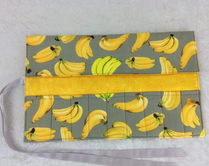 Bananas Makeup Pen Pencil Roll Crochet Knitting needles tool organiser Make up holder case wrap
