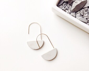 Half-Moon Concrete Loop Earrings Hypoallergenic Architectural Industrial Minimalist Hoops Gold