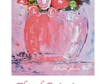 Acrylic Pink Roses Flower Painting. Pink Floral Art. Home Wall Decor. Katie Jeanne Art. Ready to Ship. 180