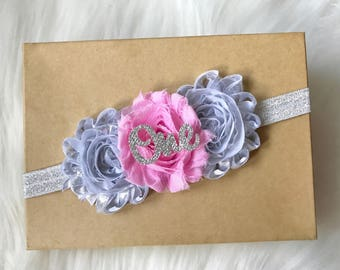 Pink and Silver Headband, Baby Headband, Newborn Headband, Baby Girl Headband, Infant Headband, Girls Headband, 1st Birthday Headband, Baby