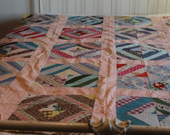Abstract Squares Quilt Top, Newspaper Backing Pattern Attached, Vintage 1950's