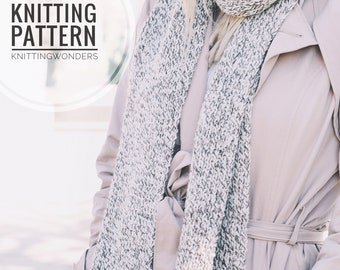 KNITTING PATTERN ⨯ Long Fashion Scarf, Easy Knit Pattern PDF ⨯ Beginner Knitting Pattern Scarf, Long Knit Scarf Pattern Knitting Download