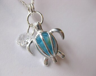 Sterling silver Sparkling Honu Aqua GLASS BEAD  SS sea turtle necklace