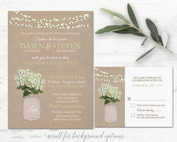 Mason Jar Wedding Invitation Printable Set Rustic
