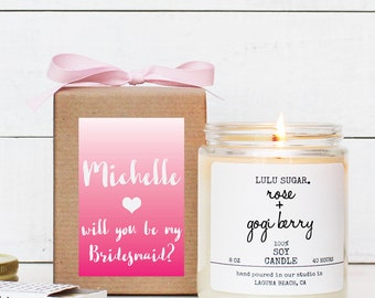 Personalized Bridesmaid Gift | Personalized Maid of Honor Gift | Be My Bridesmaid Candle | Maid of Honor Candle - Pink Ombre Label