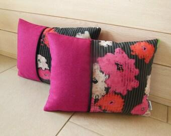 wool and fuchsia Peony velvet cushion
