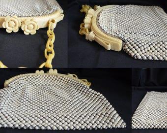 Whiting Davis Handbag Celluloid Handle Beaded Mesh Purse