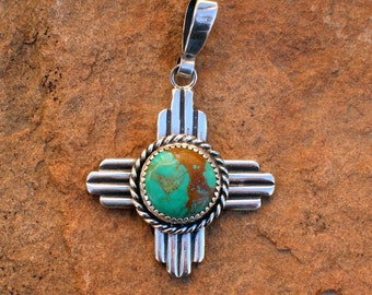 New Mexico Zia Symbol Turquoise and Silver Southwestern Style Pendant PTZt
