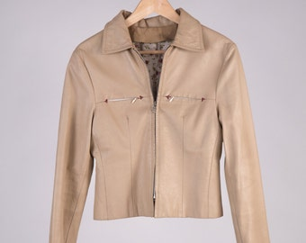 Leather Jacket 90 ' Gucci Style, Beige Floral, 100% handmade