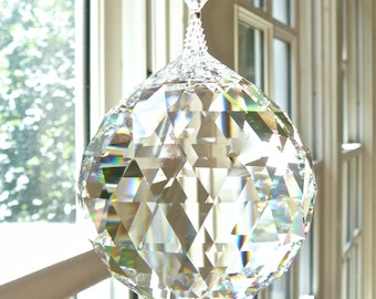 "GIGANTIC 70mm Swarovski Crystal Ball Suncatcher, Prism, 2.76 Inches in Diameter -  Breathtaking Rainbow Maker - ""SIMPLICITY COLOSSAL"""