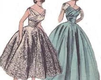Vintage 50s Surplice Draped Bodice Ball Gown Wedding Formal Ballerina Circle Dress REPRO Sewing Pattern B34 6810