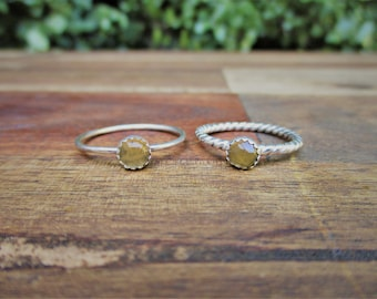 Citrine Stacking Ring / Sterling Silver Ring / Stackable Citrine Ring / Citrine Stone Ring / Sterling Silver Citrine Ring / Citrine Jewelry