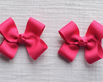 Shocking Pink Hair Clippies,Pigtail Hair Bows,3 Inches Wide,Alligator Clips,Non Slip,Birthday Party Favors