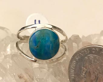 Genuine Peruvian Blue Opal  Ring, Size 11