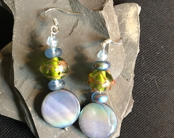 Tranquil river shell earrings with sterling silver findings.