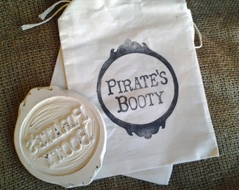 Pirates Booty Hand Carved Rubber Stamp