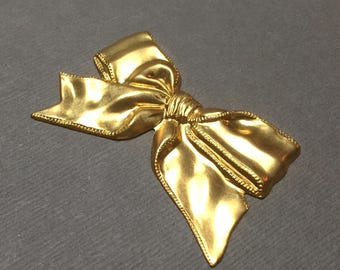 Large Brass Bow Stamping. Raw Brass. Undrilled. Brass Focal. 50mm x 30mm. One (1).
