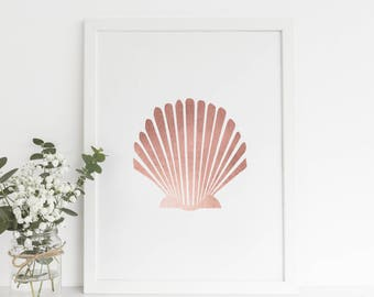 Digital Print Art, Girls Room Decor, Rose Nursery Decor, Rose Gold Foil, Rose Gold Art Print, Pink Shell Art Print, Baby Girl Printables