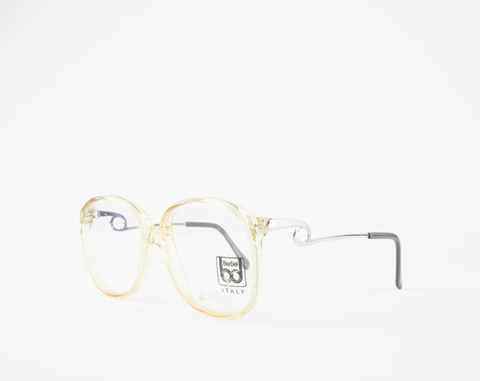 Vintage Glasses   Oversize Clear 80s Eyeglass Frame   Unique Temple Arms   NOS Round Eyeglasses - 4061 XX