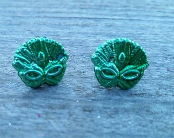 Green Mardi Gras Mask Bead Earrings - Post or Clip on