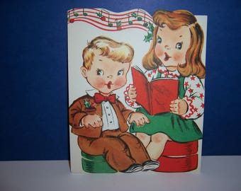 Vintage Unused Christmas Card, Pop Up Card, Boy and Girl Singing, Fold Out, 3D, 1950's Children's Greeting Card