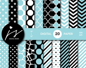 Blue and black digital paper, Scrapbooking paper, Digital paper pack, Digital backgrounds, Printable paper, Commercial use, PA-156
