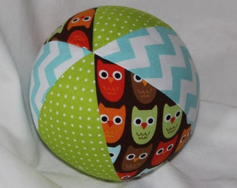 Brown Woodland Pals Owls Fabric Boutique Ball Rattle Toy