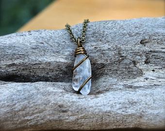 Quartz Crystal Necklace - Clear Stone Jewelry - Quartz Crystal Jewelry - Stone Necklace - Gypsy Bohemian Jewelry - Boho Gypsy Necklace
