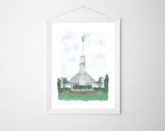 Dallas LDS Temple Original Watercolor | First Christmas Gift | LDS Christmas Gift