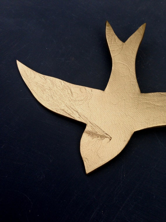 We fly together Gold porcelain wall art swallows Modern