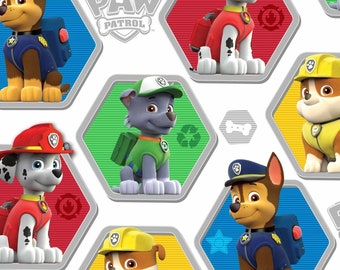 Nickelodeon Cartoon Fabric: Paw Patrol To The Rescue Puppies Characters on White 100% cotton Fabric by the yard (DA5)