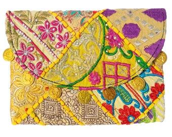 Indian cotton Small Size Embroidered Patch Work Gypsy Banjara Clutch Shoulder Bag Tribal Banjara Vintage clutch , banjara bag, sling Bag.