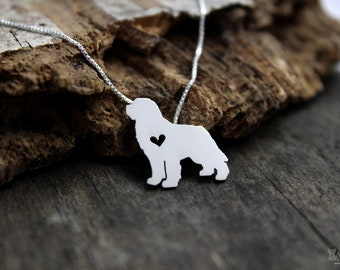 Newfoundland necklace sterling silver, tiny silver hand cut dog pendant with heart