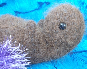 Otter plush toy with sea urchin, stuffed animal otter, knitted and felted otter toy, otter amigurumi, otter doll, made to order