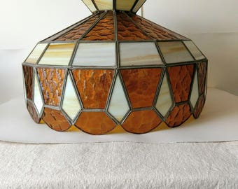 Large Stained Glass Hanging Lampshade Pool Table Bar Kitchen Light Amber White Glass Light Fixture Shade Leaded Glass Shade