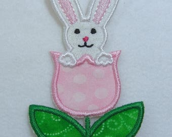 Easter Bunny in Tulip Fabric Embroidered Iron On Applique Patch Ready to Ship