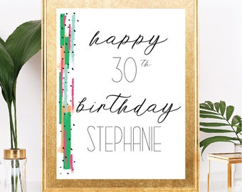 Happy Birthday Sign - Modern Abstract Style - Customizable Text - Blue, Green, Pink - Printable - 8.5x11 Digital Download