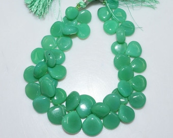 "1 Strand Chrysoprase Color Chalcedony Smooth Heart Shape Beads - Chalcedony Heart Shape Briolette, 9x9 - 15x15 mm, 8"", BL1966"