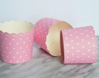 Pink and White Polka Dot Cupcake Holders