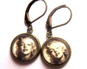 Marilyn Monroe Sepia Earrings Glass Brass Fashion Jewelry