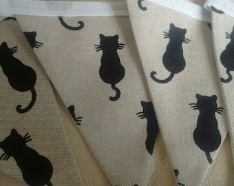 Black Cat fabric bunting, 12 flags