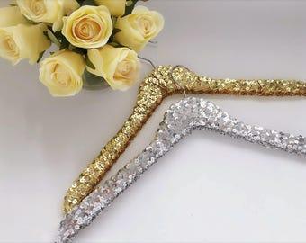 Wedding Gift Sequin Hangers,  Wedding hanger, Bridal hanger,Bridesmaid hanger Gold, Silver, Black, purple, pink and blue