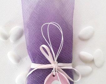 Purple gauze with evil eye - baptism favor / bomboniere
