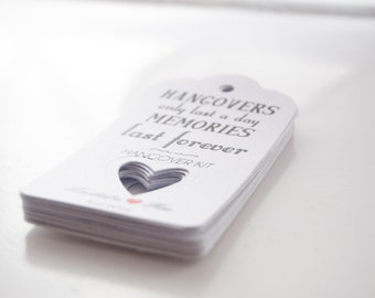 10x Personalised Hangover Tags Favour/Wedding Tags