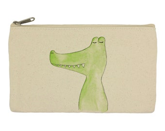 Pencil case/ stationary/ crocodile/ pencil pouch/ canvas bag/ pencil holder/ make up bag/ school supplies, alligator