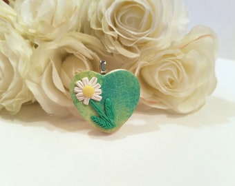 Heart Pendant or Necklace, Flower Jewelry, Gift for Her, Handmade Polymer Clay, Spring Summer Jewelry, Daisy Flower