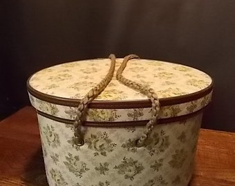 Vintage Quilted Floral Sewing Basket with Tray Insert